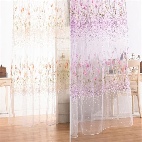 1pcs green willow sheer curtain for living room window newest 1pcs lot window curtain fabric floral transparent