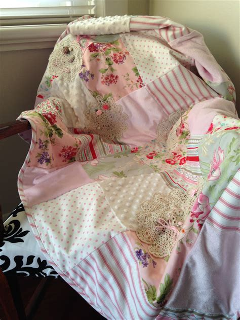 quot shabby chic floral quot cot blanket kahlia s treasures