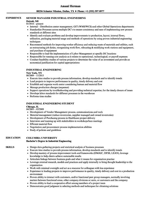 Industrial Engineer Resume by Industrial Engineering Resume Sles Velvet