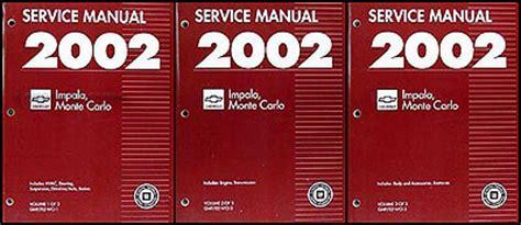 2002 monte carlo ls service and repair manual download manuals a 2002 impala monte carlo repair shop manual original 3 volume set