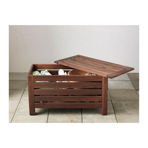 applaro storage bench 196 pplar 214 storage bench outdoor brown stained 80x41 cm ikea