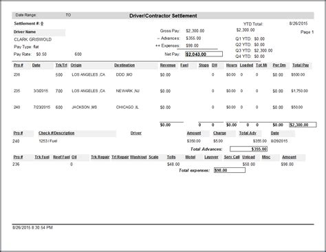 Driver Settlement Sheet Template Dr Dispatch Software Easy To Use Software For Trucking And Brokerage