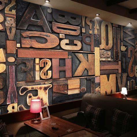 Painting A Mobile Home Interior ktv casual retro theme color wallpaper woodcut alphabet
