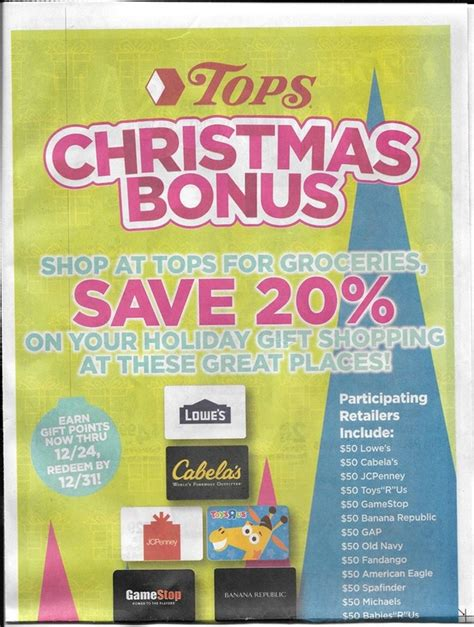 Tops Gift Card Promotion - tops markets christmas bonus 20 off holiday shopping gift cards new promo breakdown