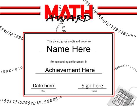 math certificate template certificates awards