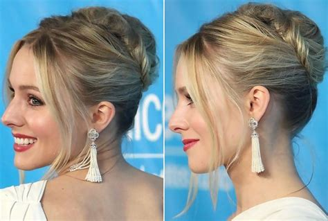 how to give myself the best hairstyle with a widows peak for kristen bell s twice twisted french twist do it yourself