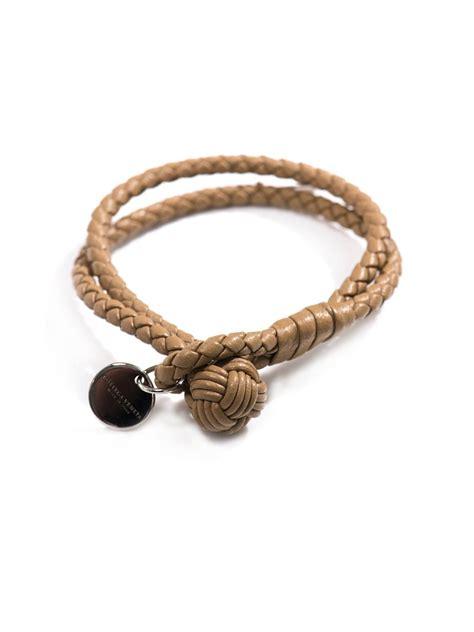 Bottega Bracelet lyst bottega veneta wovenleather bracelet in brown for