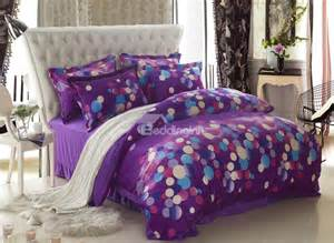 Purple Bedding Sets Classic Dots Print Purple 4 Bedding Sets Duvet Cover