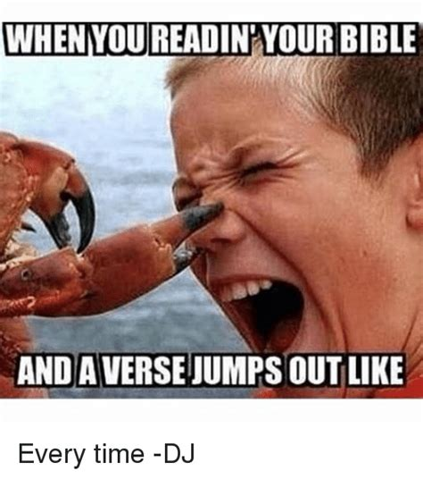 Meme Bible - when you readin your bible and averse jumps outlike every