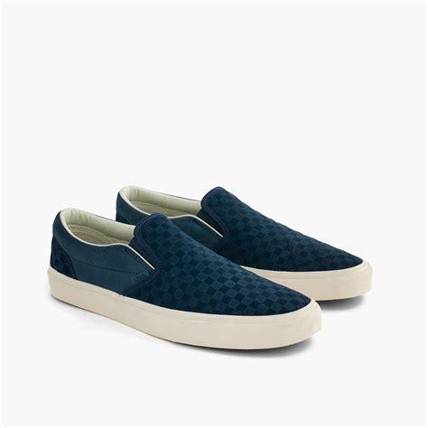 Sepatu Slip On Wedges Suede 02 j crew vans checkerboard suede slip ons in blue for lyst