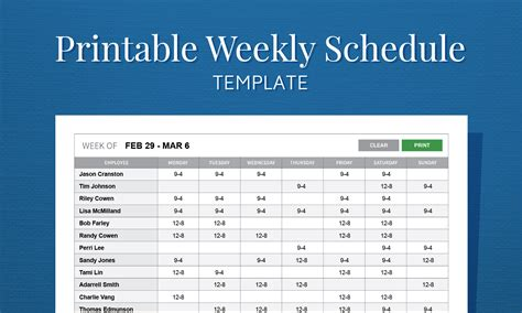 free printable work schedule template for employee