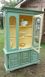 Painted Buffet Hutch Pjh Designs Hand Painted Antique Furniture Vintage Hutch