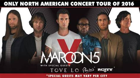 Maroon 5 reveal 2016 tour dates for north america ticket presale code