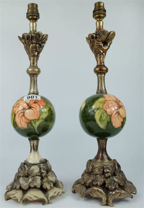 Moorcroft L Base Value by Moorcroft Pair Ls With Resin Bases And Tops Decorated In