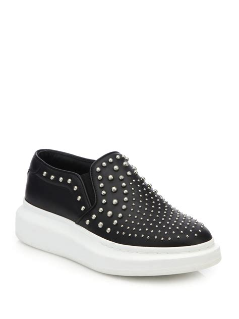 mcqueen sneakers womens lyst mcqueen embellished leather slip on