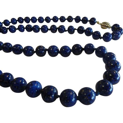 blue lapis bead necklace vintage les bernard signed blue lapis glass bead necklace