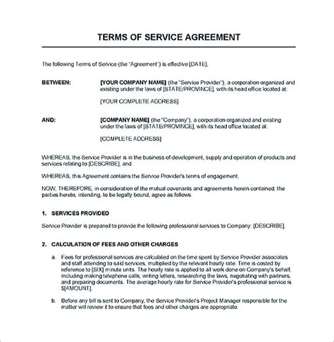 service contract service contract template and important terms to write
