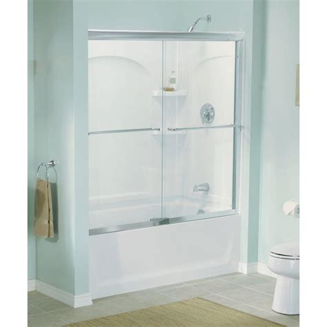 Sterling Finesse 57 In X 55 3 4 In Semi Frameless Semi Frameless Sliding Shower Door