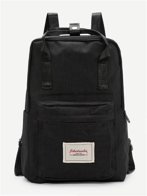 patch detail handle canvas backpack shein sheinside