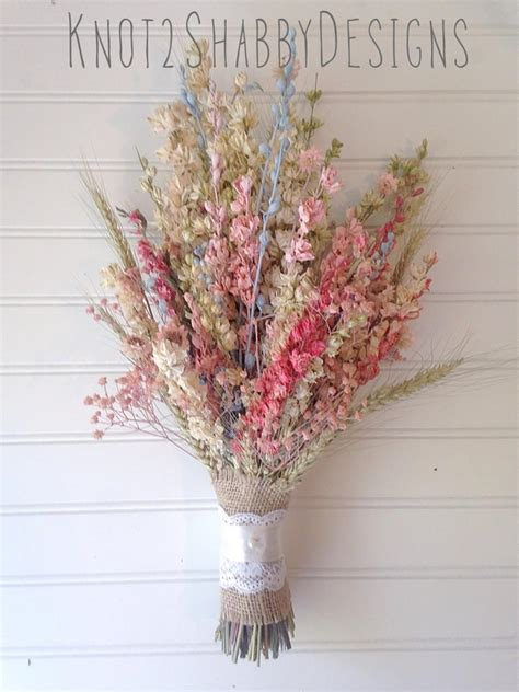 Bloom Box Pink Multicolor Preserved Flower dried flower bridal bouquet dried flowers pink blue wildflower country wedding wheat