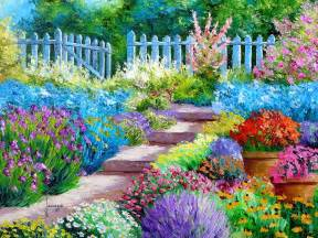 Paintings Of Flower Gardens Flower Garden Painting Wallpaper 1600x1200 176827 Wallpaperup