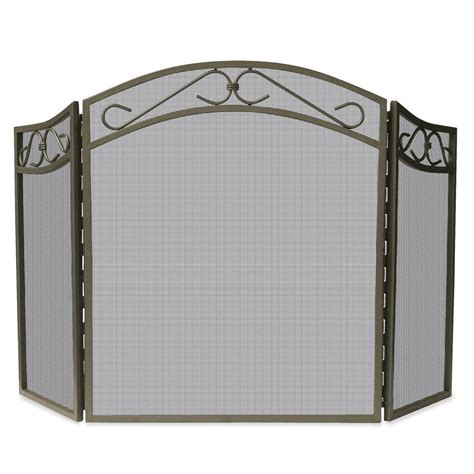 bronze fireplace screen uniflame bronze wrought iron 3 panel fireplace screen with decorative scroll s 1638 the home depot