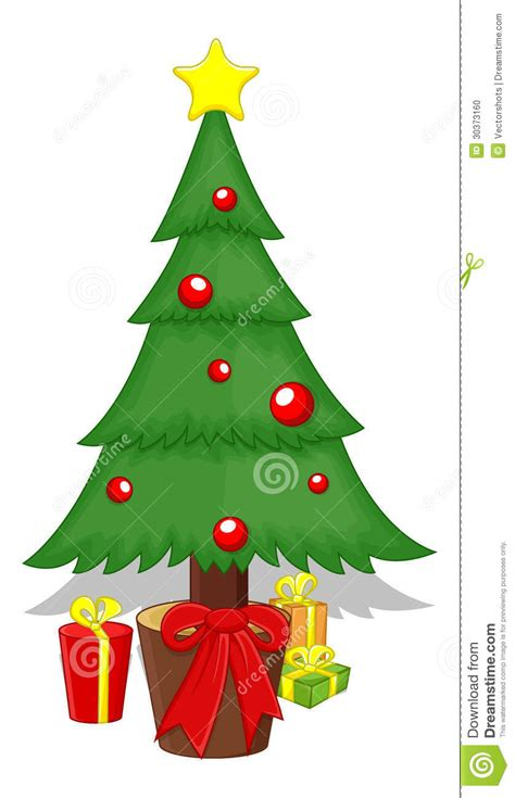 cartoon christmas tree december tree vector illustration stock vector illustration of gift drawing 30373160