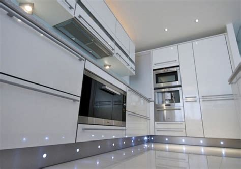 led kitchen lighting ideas high gloss white with stainless steel plinth with led