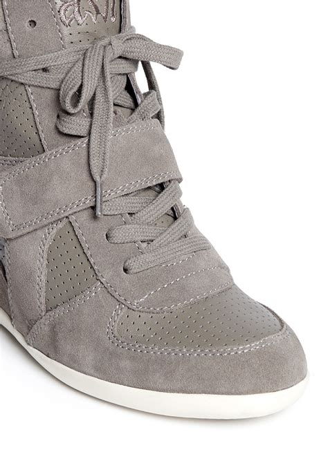grey sneaker wedges ash bowie suede and calf leather wedge sneakers in gray