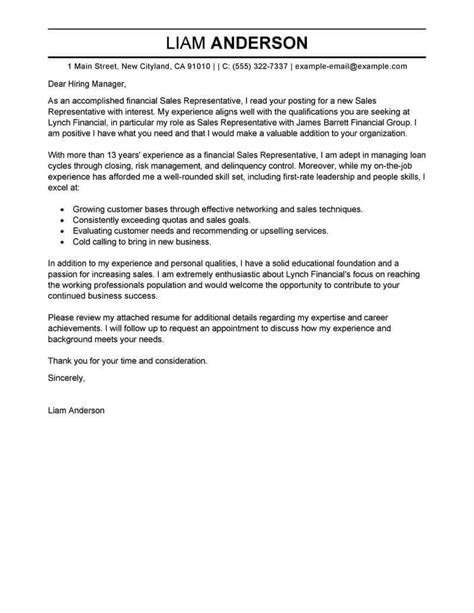 sales representative cover letter examples livecareer