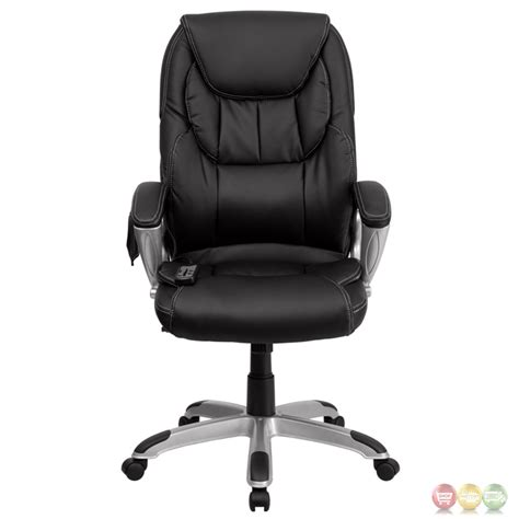 High Back Massaging Black Leather Executive Swivel Office High Back Massaging Black Leather Executive Office Chair With Silver Base