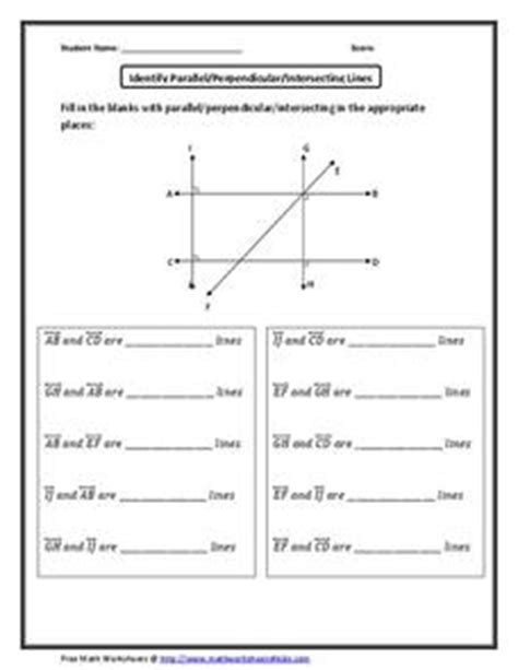 parable parallels worksheet answers identify parallel perpendicular intersecting lines 6th 8th grade worksheet lesson planet