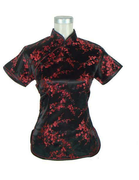 Handmade Tops - black silk satin shirt tops traditional
