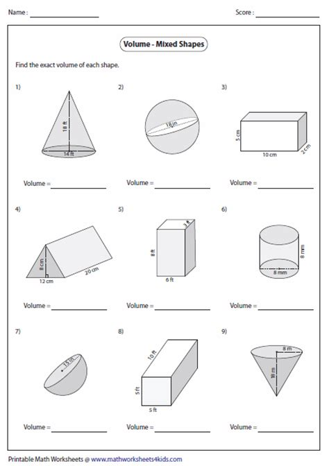 Volume Of Shapes Worksheet volume worksheets