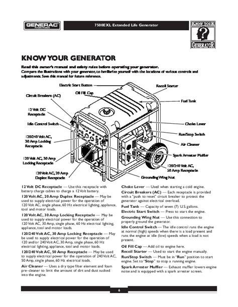 Transfer Letter Generator Generac 7500exl Generator Owners Manual