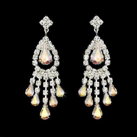 ab rhinestone earrings for quinceanera or mis quince anos
