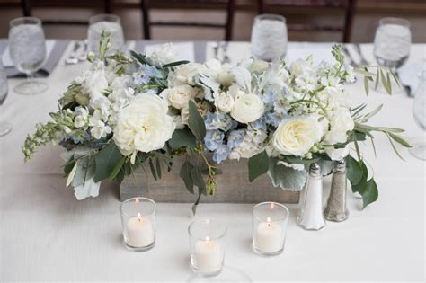 blue centerpieces for baby shower serenity blue floral table centerpiece for a baby boy shower at willowdale estate topsfield ma