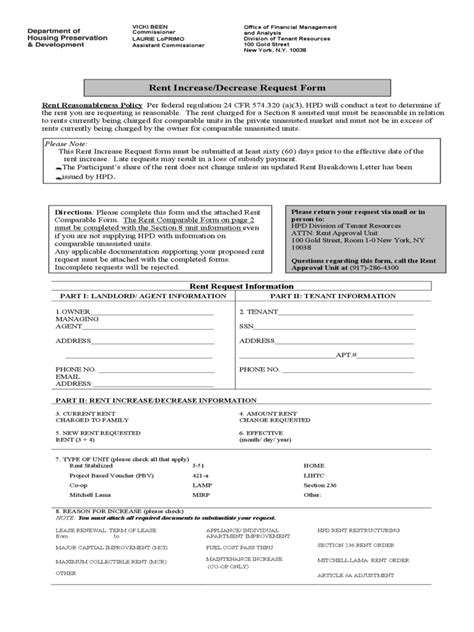 Request For Rent Increase Decrease Download Pdf San Francisco Rental Application Template