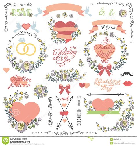 doodle wedding stationery wedding invitation decor set doodle floral wreath