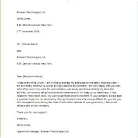 Raise Thank You Letter Sle Formal Official And Professional Letter Templates Part 3