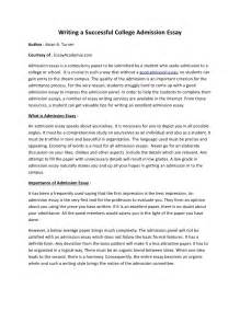 Of A Essay by Writing A Successful College Admission Essay