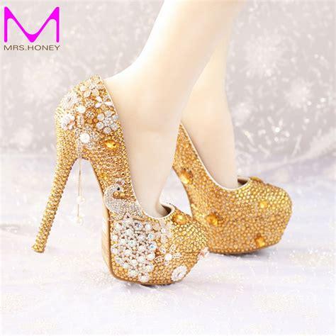 gold rhinestone high heels buy glitter gold rhinestone wedding shoes