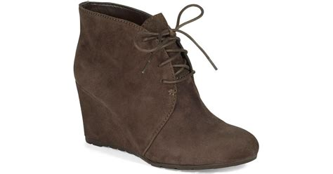 clarks rosepoint dew suede wedge ankle boots in brown lyst