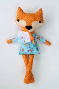 Handmade Stuffed Dolls - handmade fabric fox stuffed animal doll by liaandlucy on