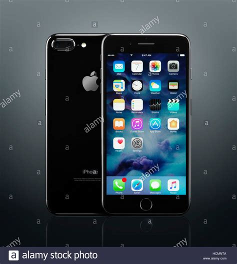 apple iphone 7 plus black front and back with desktop icons on its stock photo 128304634 alamy