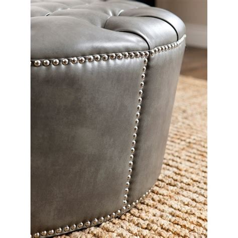 round leather ottoman with nailheads abbyson living naples nailhead leather round ottoman in