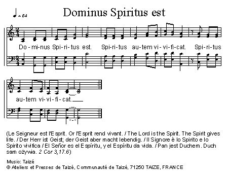 veni sancte spiritus testo cantus mundi dominus spiritus est taiz 233