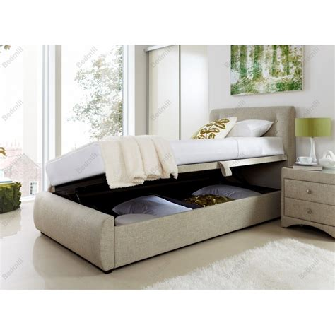 3ft Single Oatmeal Fabric Side Opening Ottoman Storage Bed Ottoman Single Beds With Storage