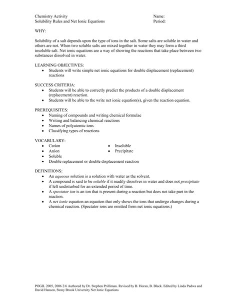Solubility Worksheet Answers Chemistry If8766 by Balancing Chemical Equations Pogil Activity Answer Key