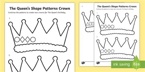 crown template ks1 the queen s shape patterns crown activity sheet worksheet